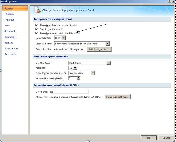 Show Tab Developer Excel