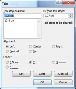 Tabs Stop Setting Word 2007