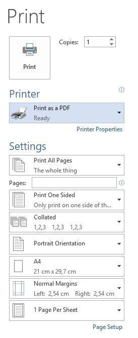 Print PDF Windows 10 word