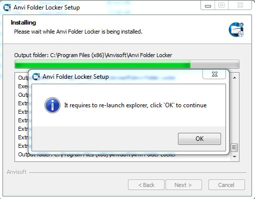 restart explorer anvi folder locker