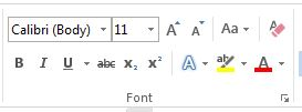 ribbon font word