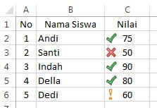 result icon set excel