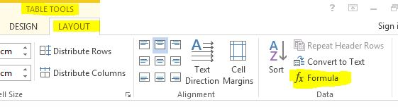 Formula Microsoft Word