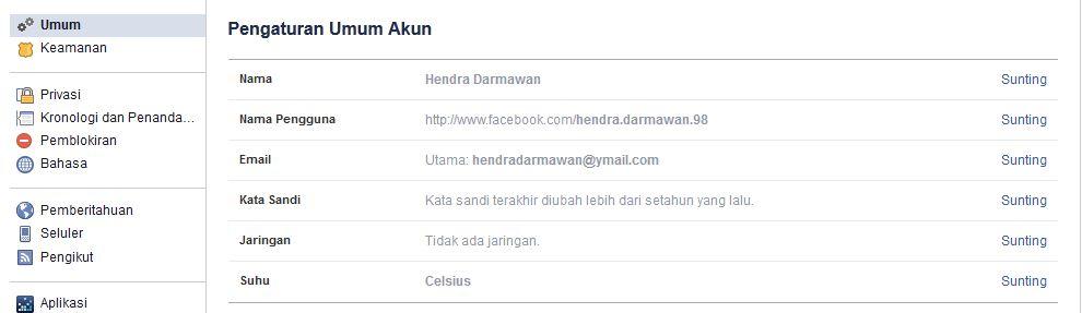 Pengaturan Umum Facebook