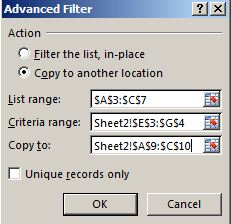 contoh advanced Filter pada excel 3