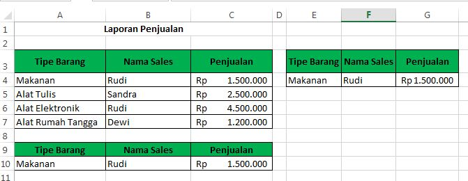 contoh advanced Filter pada excel 4