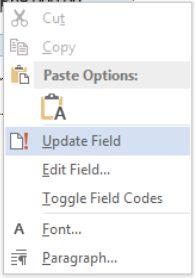 update field formula Microsoft Word