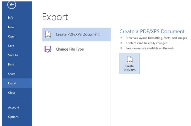 Export To PDF 2013