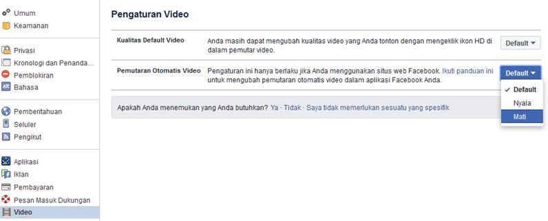 video setting facebook